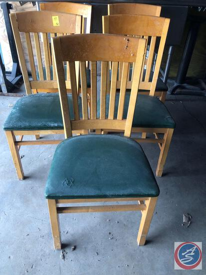 (5) Shelby Williams Inc. Upholstered Slat Back Chairs Measuring 32 1/2""