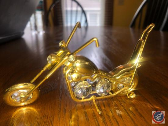 Replica Golden Chopper Figurine with Clear Bead Accents