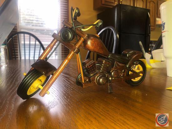 Wood Carved Replica Chopper Motorcylce