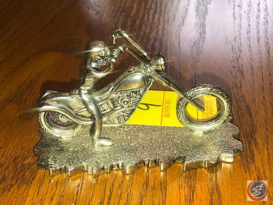 Cast Iron Skeleton Riding Chopper Paper Weight