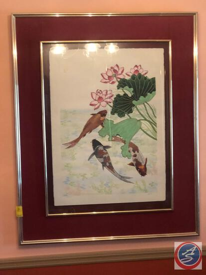 Framed Watercolor Signed An-Li Number 152/250