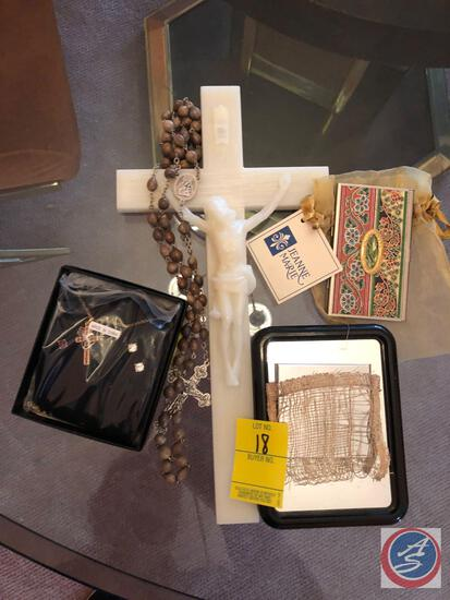 Crucifix, Rosary, Small Mirror, Necklace and Earring Set
