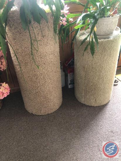 (2) Carpeted Plant Stands - Plants Not Included
