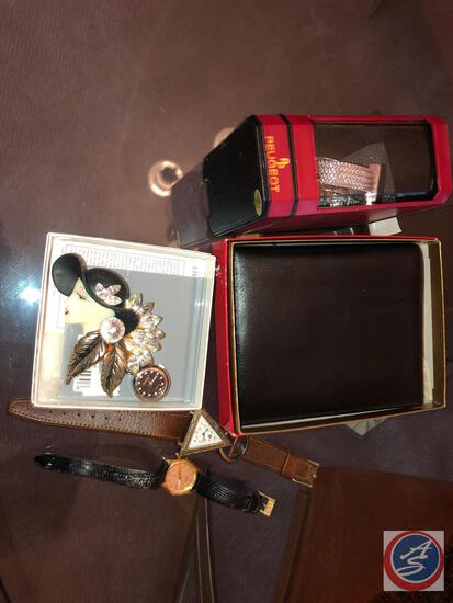 Peugeot Ladies Wristwatch in Original Package, Brooch w/ Watch, Bosca Leather Credit Card Wallet,
