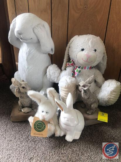 Assorted Bunnies Decorations - One is Marked Echo Inc. Chrisdon, Boyd's Bears Investment