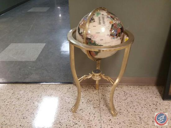 """36"""" Tall Floor Standing Globe W/ Pearl Oceal And Gold Tripod, Compass"""