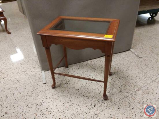 """Glass Inlaid Side Table Measuring 23"""" X 16"""""""