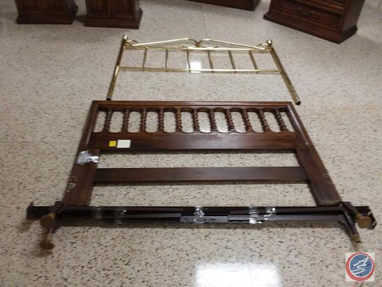 "Full/Queen Brass/Wood Headboard/Footboard W/ Adjustable Bed Rails Measuring 60"" X 70"""