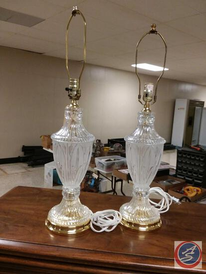 {{2X$Bid}} Pair Of Matching Crystal Table Lamps {No Shades}{{Sold Two Times The Money}}
