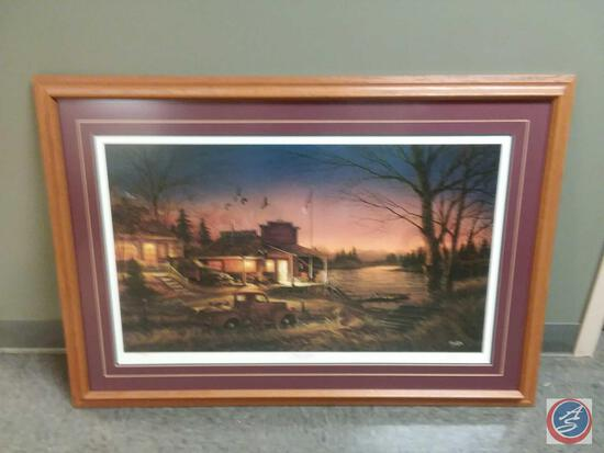 """Terry Redlin Autographed Framed Print Titled """"Total Comfort"""" """"That Very Special Time Of The Day"""" 42"""""""