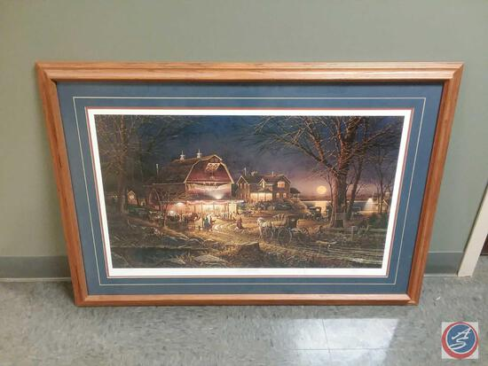 """Terry Redlin Autographed Framed Print Titled """"Harvest Moon Ball"""" """"The Annual Autumn Country Barn"""