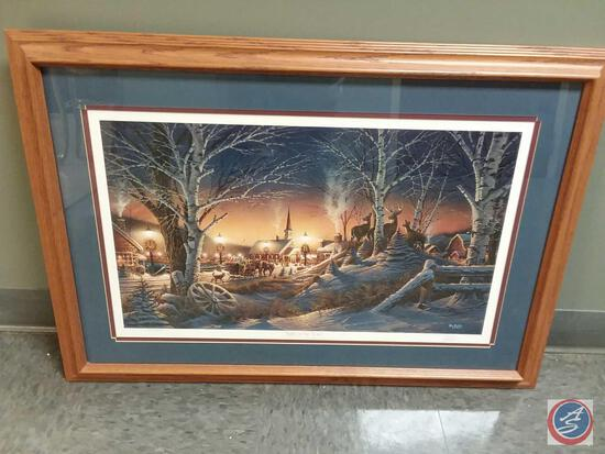 """Terry Redlin Autographed Framed Print Titled """"Night On The Town"""" """"Exciting Memories Of The Holiday"""