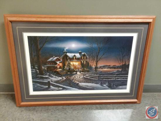 """Terry Redlin Autographed Framed Print Titled """"Aand Crown Thy Good With Brotherhood"""" """"America The"""