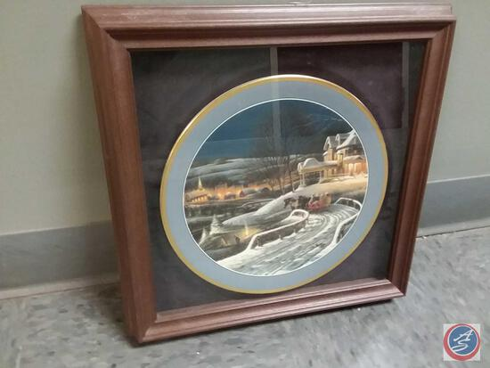 """Terry Redlin Collector Plate """"Family Traditions"""" Plate Number 3900/9500 By Hadley House Framed,"""