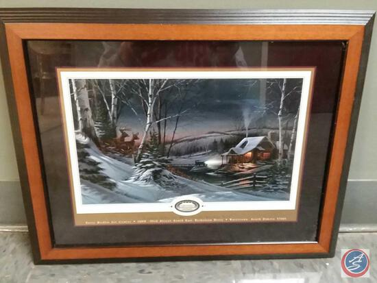 """Terry Redlin Framed Print Titled """"Evening With Friends"""" Measures 18 1/2"""" X 14 1/2"""""""