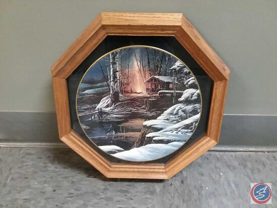"""Terry Redlin Collector Plate """"Sharing The Solitude"""" Plate Number 880/19500 By Hadley House Framed,"""
