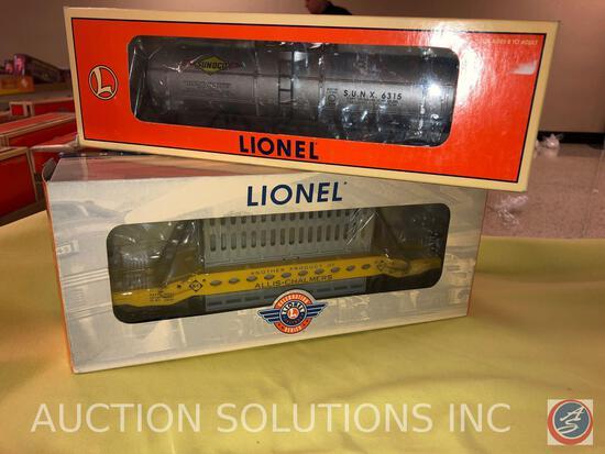 {{2X$BID}} 1996 Lionel O-Gauge Single Dome Sunoco Tank Car No. 6315 and 2004 Lionel Allis-Chalmers