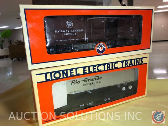 {{2X$BID}} 2012 Lionel Double-Door Box Car No. 6-15889 and 1991 Lionel Denver Rio Grande Flatcar