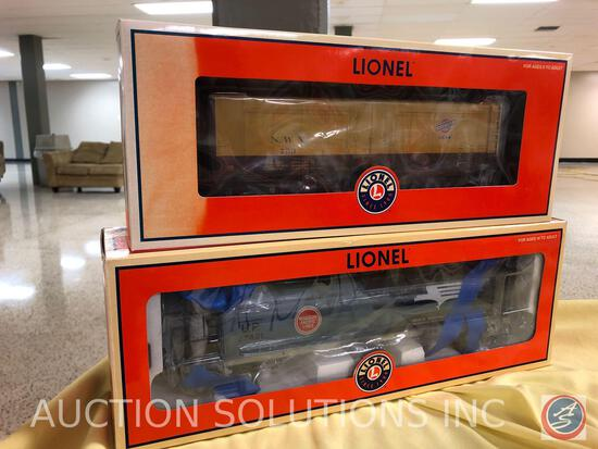 {{2X$BID}} 2004 Lionel Union Pacific Heritage Mopac Cylindrical Hopper No. 6-27421 and 2004 Lionel