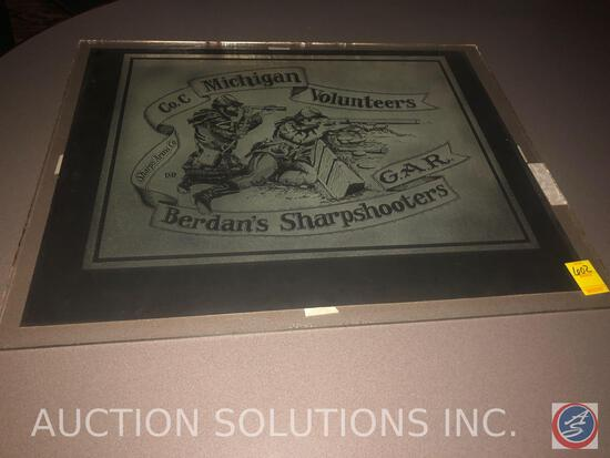 Sharps Arms Co. Michigan Volunteers Poster on Cardboard with Frosted Glass