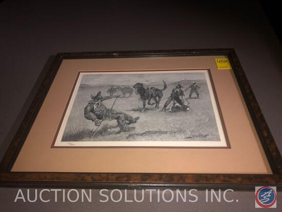 Framed Wood Block Engraving Titled Thanksgiving Dinner for the Ranch by Frederic Remington