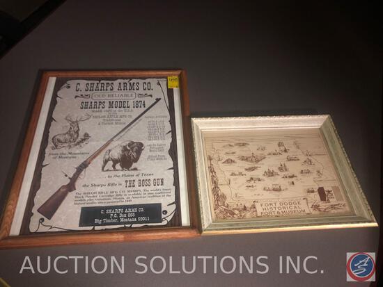 C. Sharps Arms Co. Old Reliable Sharps Model 1874 Framed Poster, Fort Dodge Historical Fort and