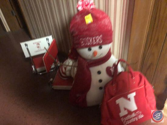 "30"" Nebraska Stuffed Decoration Snowman, Nebraska Country Bag, Small Nebraska Mrs. Clause"