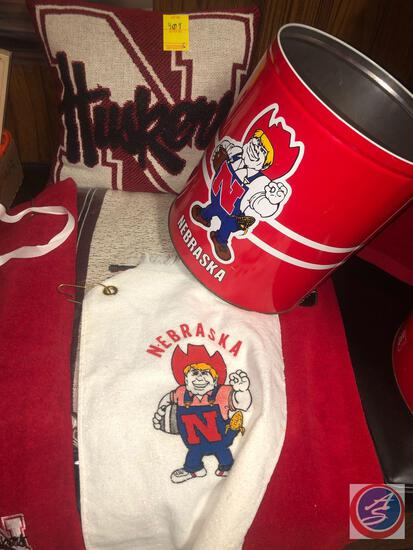 Nebraska Pillow, Nebraska Empty Popcorn Container, Nebraska Ash Trays, Soap Holder w/ Nebraska Logo