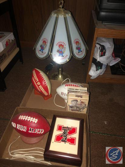 (2) Nebraska 1972 Ceramic Light up Footballs, Nebraska Football w/ Stand, Husker Century Spirit of