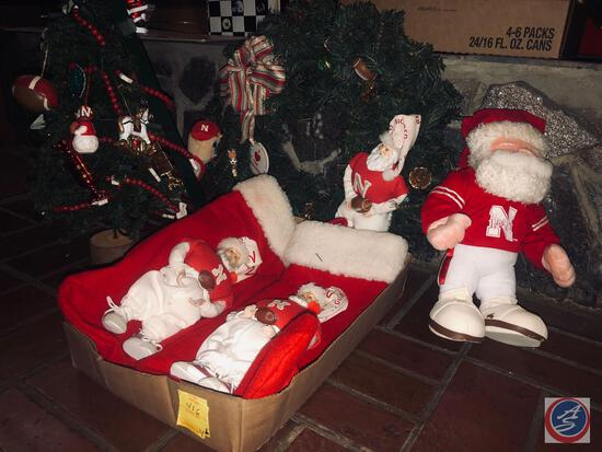 "Vintage 23"" Handmade Nebraska Huskers Christmas Tress, (2) Husker Santa Stockings, Vintage Nebraska"
