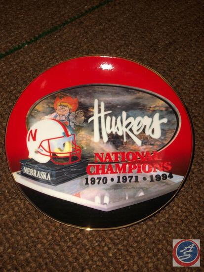 1970?1971 Huskers National Champions Plate, 1994 NE Champions Collector Plate, 1995 Final Big Eight