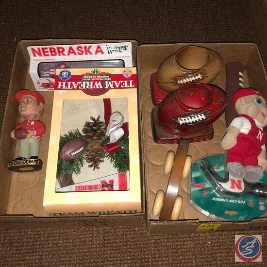 Matchbox Nebraska Peterbilt, NFL Nebraska Team Wreath, Coach Bob Devaney BobbleHead, Nebraska