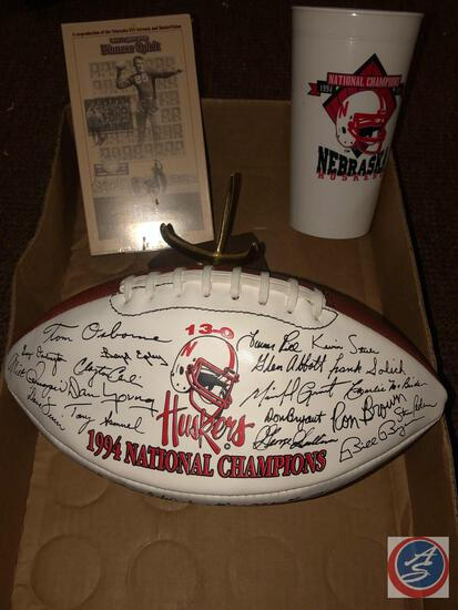 1994 NE National Champions Facsimile Signed Football, 1994 Championship cup; Husker Century Video