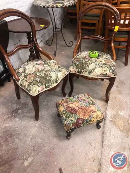 """{{3X$BID}} (2) Antique Upholstered and Padded Chairs Chairs 35"""", Antique Upholstered and Padded Foot"""