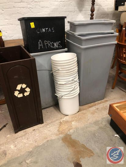 Commercial Trash Cans, 5 Gallon Buckets Recycling Bin