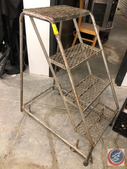 Perforated Steel Warehouse Ladder on Casters