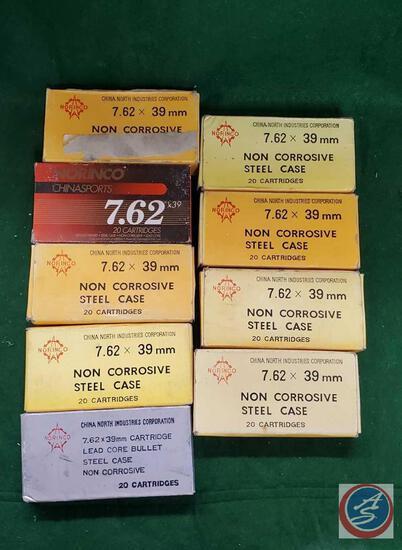 Norinco 7.62 x 39 mm (8) boxes 20 cartridge shells and boxes, Norinco 7.62 x 39
