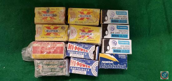 1950's 22 boxes with ammo (4)Winchester super x Magnum, (1) Winchester super speed 22 full box, (3)