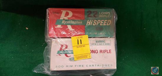 Remington 22 LR box w/ shells, Remington 22 Hi Speed box w/ shells