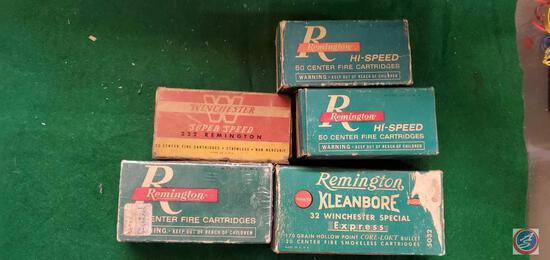 Remington 222 , (2) Remington hi Speed 22 hornet boxes, Remington 32, Remington 32 Winchester