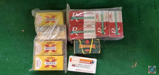 Winchester Super X rim fire cartridges 22 boxes, 4, one very vintage, Winchester Super X LR, DuPont