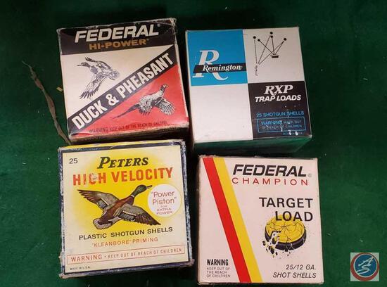 Federal Champion Target load box, Remington Trap Load box, Peters hi Power 12 ga loads, Federal Duck