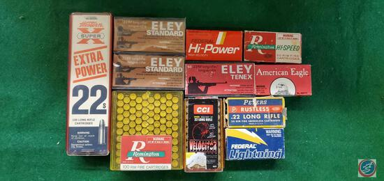 Eley Standard22RF Long rifle boxes, full (2),American Eagle22LR (1), Peters 22 Long Rifle Box,