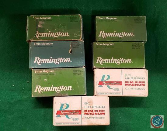 Remington High Velocity 5mm Magnum Hollow point boxes (5), Remington 5MM Rim Fire Magnum boxes (2)