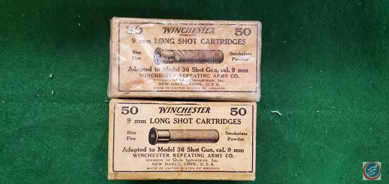 (2) Winchester 9Mm Long Shot Cartridge Boxes, Full