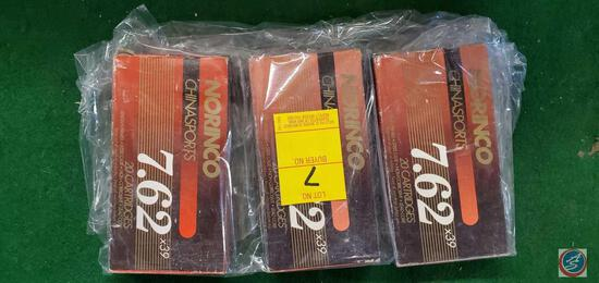 Norinco 7.62 x39 cartridge boxes (3) with shells Winchester 8Mm Mauser shells, (3) 8mm Mauser shell