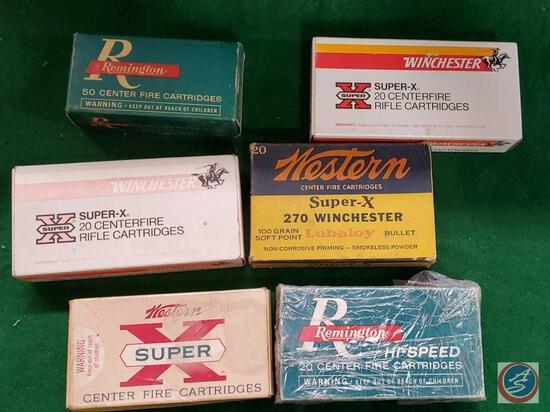 Remington Hi-Speed 20 cartridges, Remington 50 Center Fire Cartridges, (2) Winchester 20 center fire