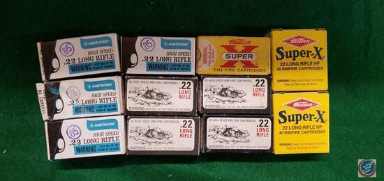 Hawthorne 22's (4), Hiawatha 22 high speed 22 (4) Western Super x rim fire 22, Western 22 LR HP 40