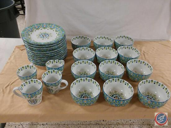 """Pier 1 Imports Porcelain (12) Bowls, (4) Cups, and (12) Plates (11"""")"""