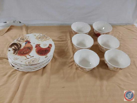 """Pier 1 Imports Ironstone (6) Bowls and (6) Plates (11"""")"""